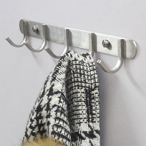 Solid Steel 5-Hook Coat Rack