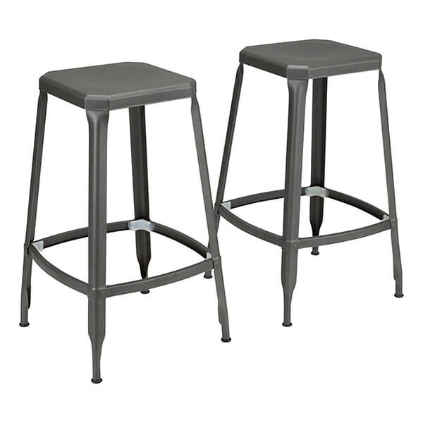 Fat Catalog Square Gun Metal Bar Stools