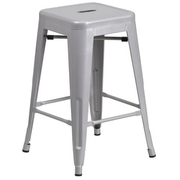 Flash Furniture Backless Silver Metal Stool