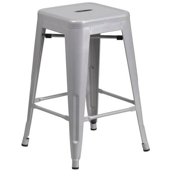 Flash Furniture Backless Silver Metal Stool