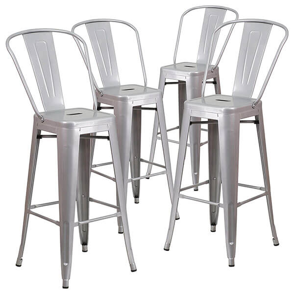 Flash Furniture Silver Metal Stool with Back, 4 Pack