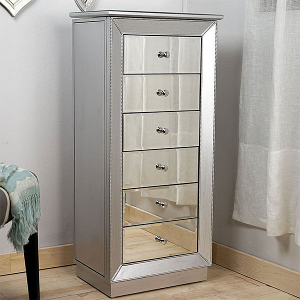 Hives and Honey Mia Jewelry Armoire, Metallic Silver