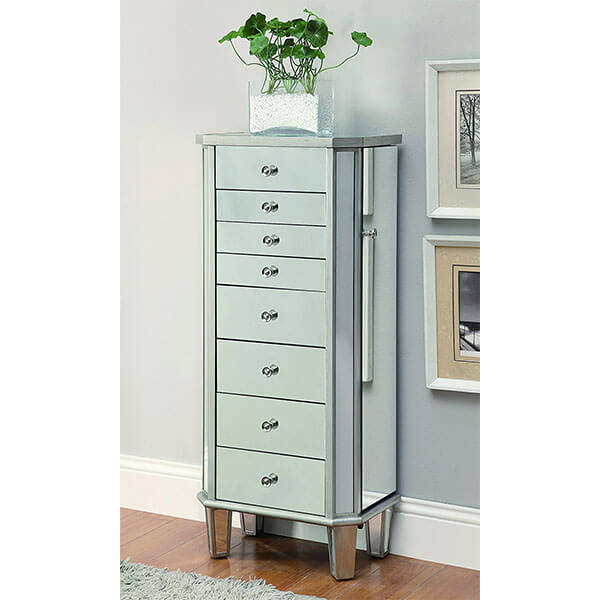 Coaster Home Furnishings Contemporary Jewelry Armoire, Antique Silver