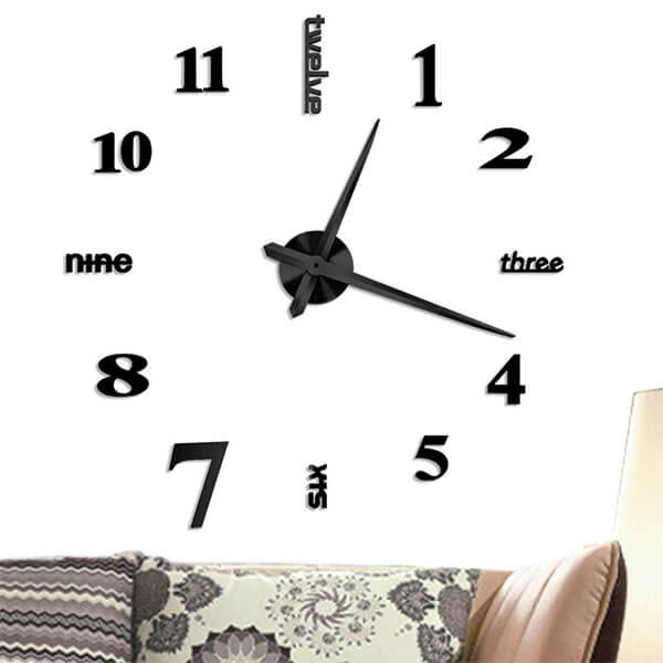 Vangold Frameless Large 3D Wall Clock