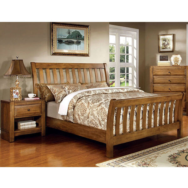 Conrad Country Style Rustic Oak Bed Frame