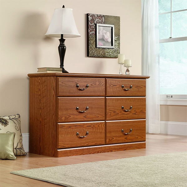 Sauder Carolina Oak Finish Orchard Hills Dresser, 6 Drawer