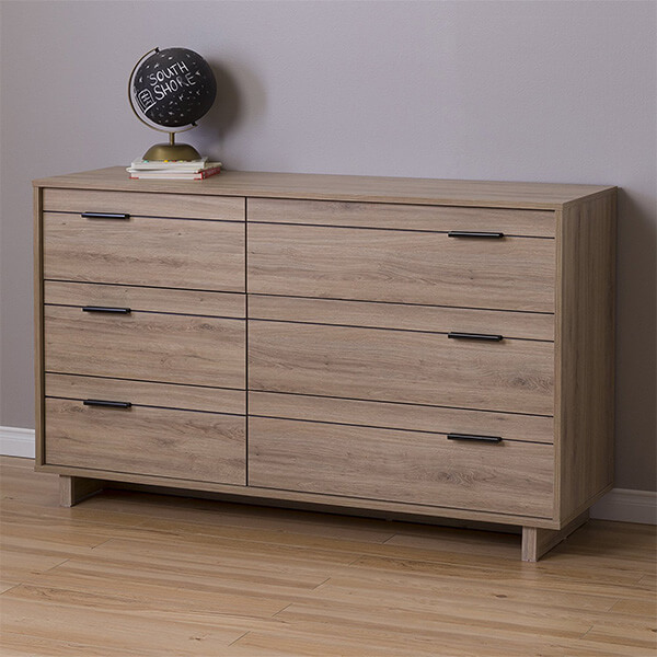 South Shore Fynn 6-Drawer Double Dresser, Rustic Oak
