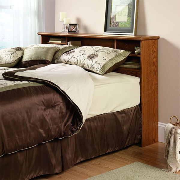 Sauder Orchard Hills Bookcase Headboard, Carolina Oak