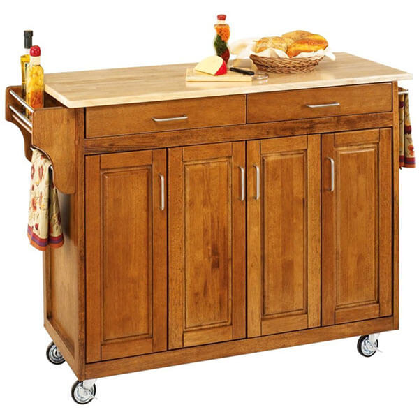 Home Styles Kitchen Cart with Wood Top, Cottage Oak Finish