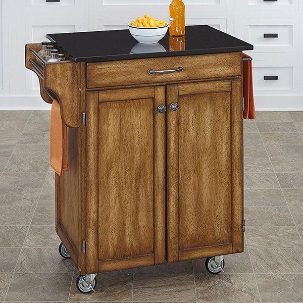 Home Styles Kitchen Cart with Black Granite Top, Warm Oak