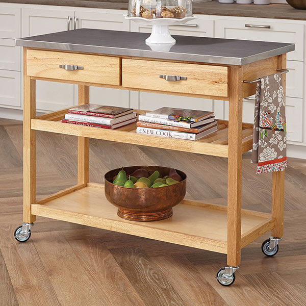 Home Styles Oak Kitchen Cart with Stainless Steel Top