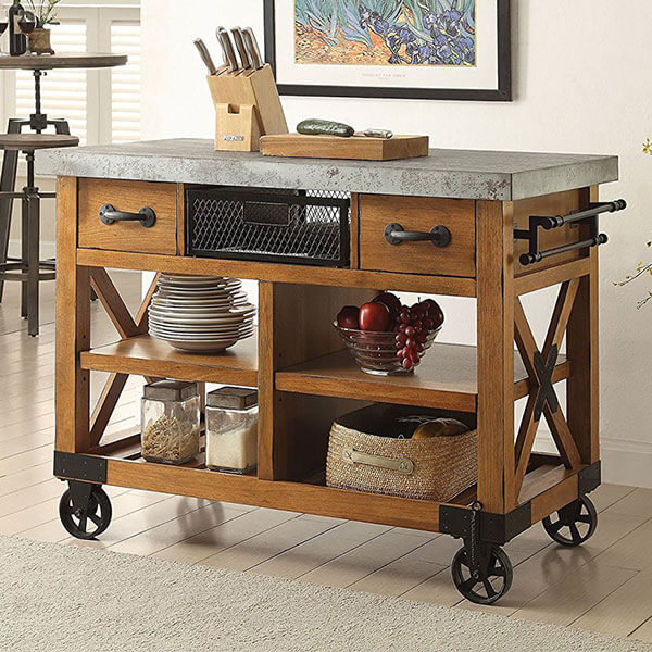 ACME Furniture Kailey Kitchen Cart, Antique Oak