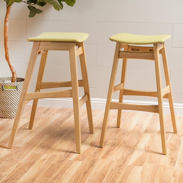 Oster Mid-Century Oak Finish Bar Stool (Set of 2)