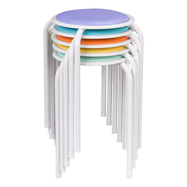 Fat Catalog Assorted Color Stacking Padded Stools, Pack of 5