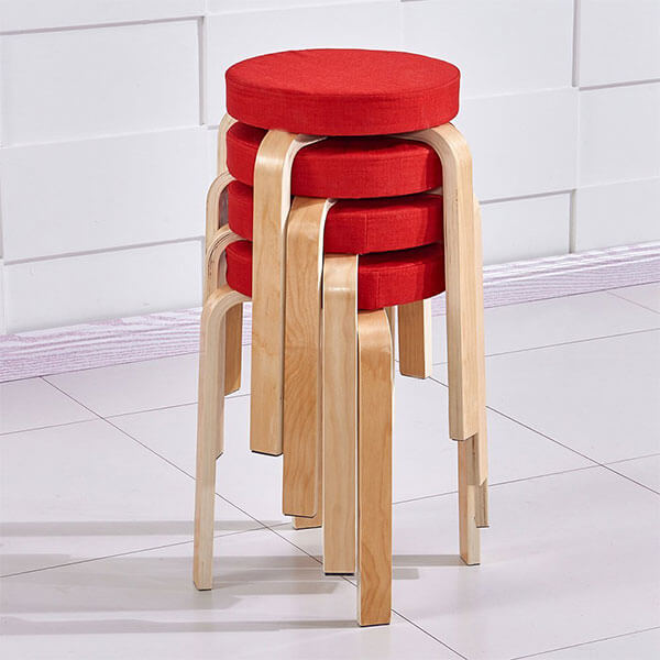OSPI BentWood Stacking Padded Stools, Set of 4