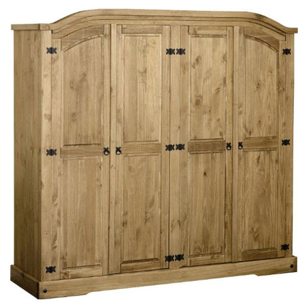 Corona 4 Door Solid Pine Wardrobe