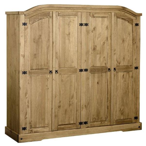 Corona 4 Door Solid Pine Wardrobe