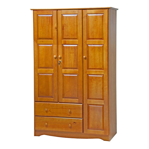Solid Wood Grand Wardrobe, Honey Pine