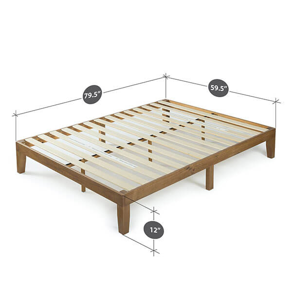 Zinus 12 Inch Wood Platform Bed Frame, Rustic Pine Finish