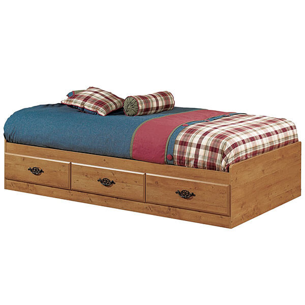 South Shore Prairie Collection Bed Frame with Storage, Country Pine Finish