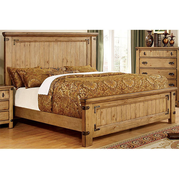 Furniture of America Corinthia Panel Bed, Burnished Pine