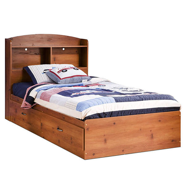 South Shore Logik Collection Bookcase Headboard, Sunny Pine