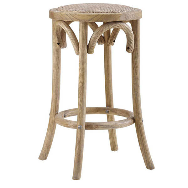 Linon Rae Backless Rattan Stool