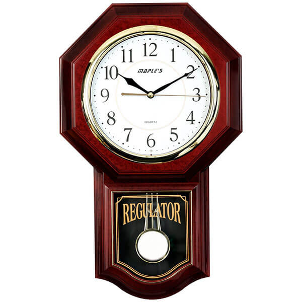 Maple's Traditional Plastic Wall Clock with Pendulum