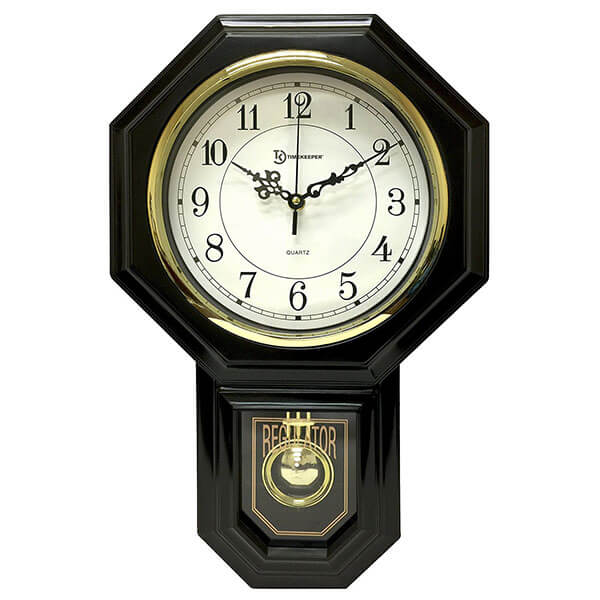 Timekeeper Essex Westminster Chime Faux Wood Pendulum Wall Clock