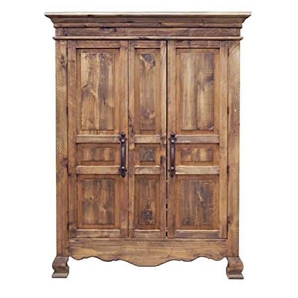 Rustic 2 Door Armoire, Walnut Finish