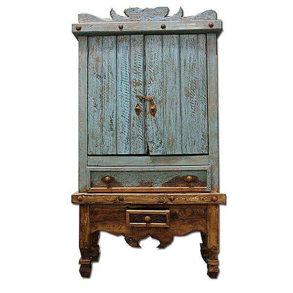 Western Rustic Turquoise Armoire