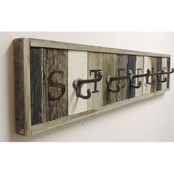Personalized Reclaimed Wood Coat Rack