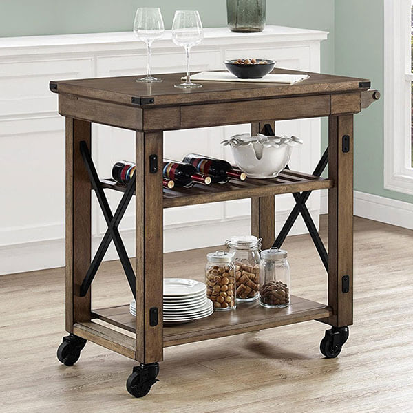 Altra Wildwood Multi-Purpose Kitchen Cart, Rustic Gray