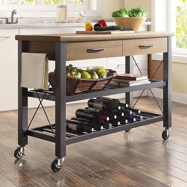 Whalen Santa Fe Kitchen Cart, Rustic Brown
