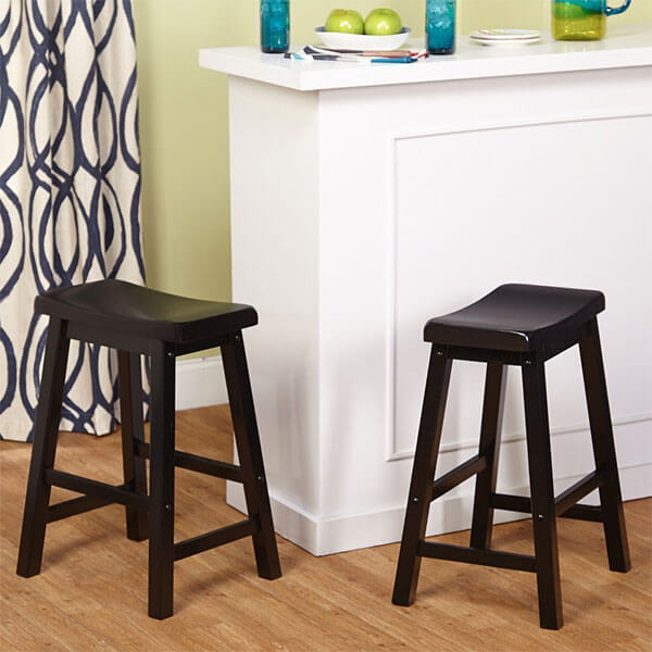 Target Marketing Systems Belfast Wooden Saddle Stools, Set of 2