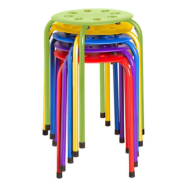 School Outfitters Plastic Stacking Stools, Assorted Colors (Set of 5)