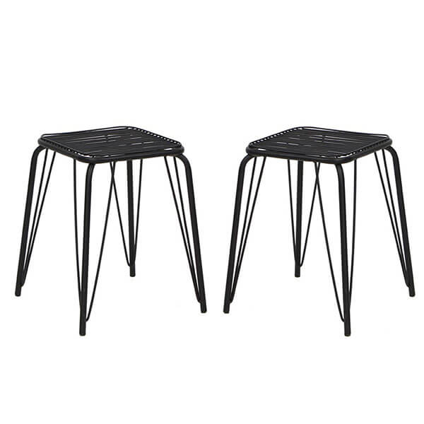 VIVA HOME Stackable Metal Stools, Set of 2