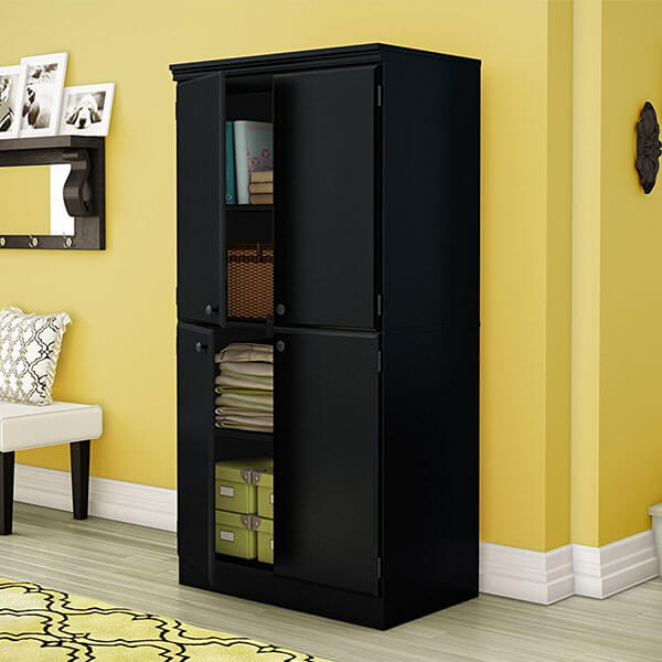 South Shore Morgan Collection Storage Cabinet, Pure Black