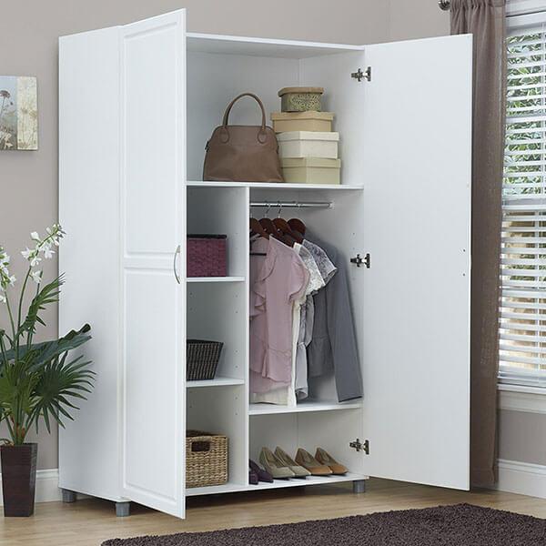 SystemBuild Kendall 48-inch Wardrobe Storage Cabinet, White Stipple