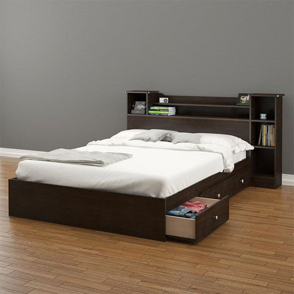 Pocono 3-Drawer Storage Bed with Bookcase Headboard