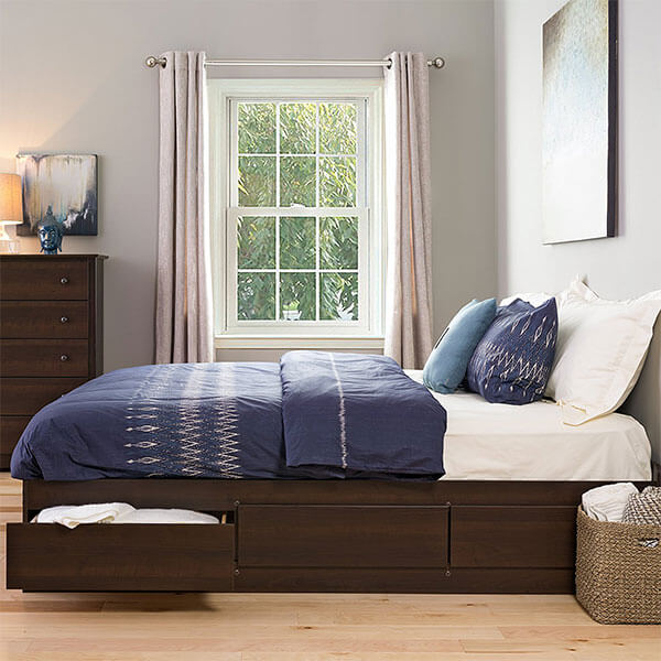 Prepac Platform Storage Bed with 6 Drawers