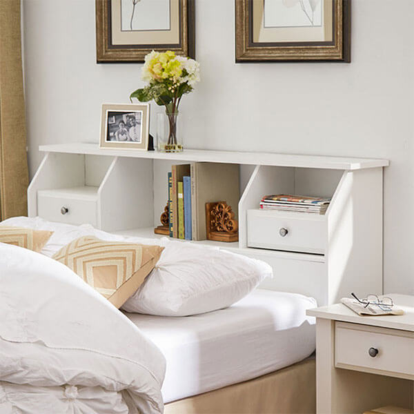 Revere Modern White Storage Headboard