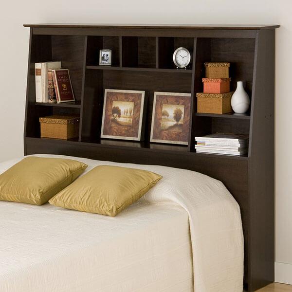 Prepac Espresso Slant-Back Bookcase Headboard