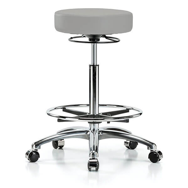 Perch Chrome Rolling 360-Degree Swivel Stool