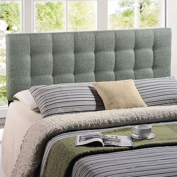 Modway Lily Tufted Fabric Headboard, Gray