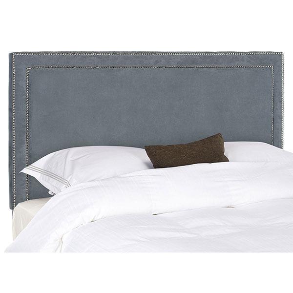 Safavieh Cory Grey Velvet Upholstered Headboard, Silver