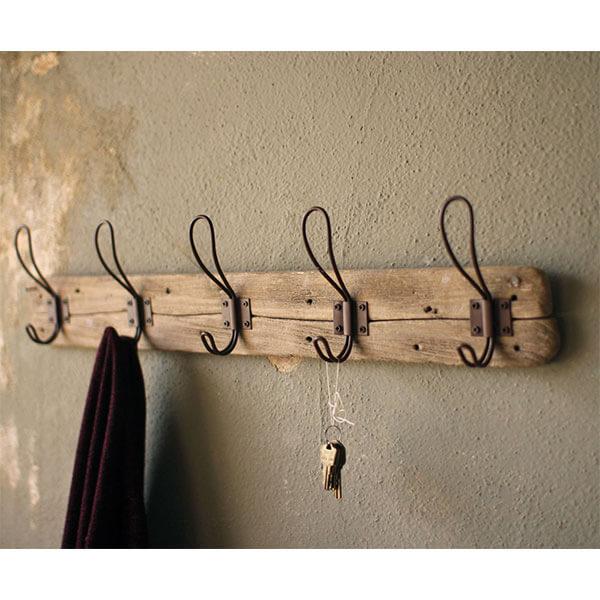 Kalalou Rustic Style 5 Hook Wall Mounted Wooden Coat Rack