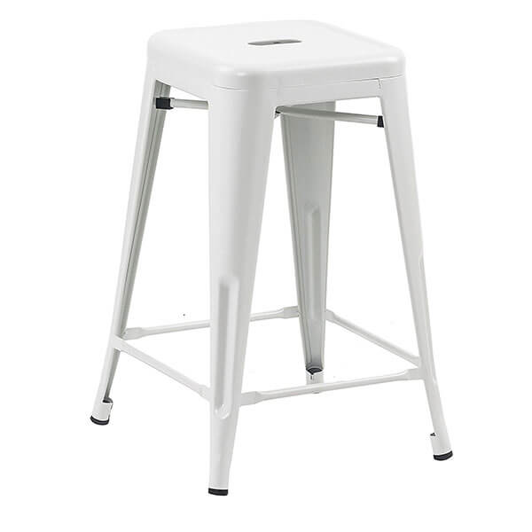 Buschman Matte WhiteTolix-Style Metal Bar Stools, Set of 4