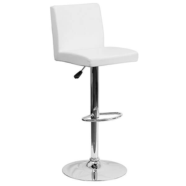 Flash Furniture Contemporary White Vinyl Adjustable Height Bar Stool