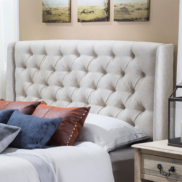 Allen Tufted Eggshell Fabric Wingback Headboard